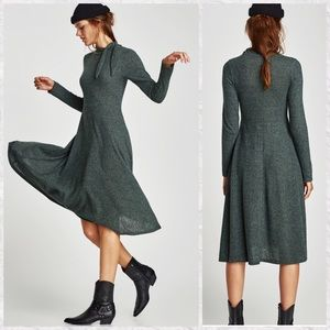 Zara NEW Long Sleeve A-Line Midi Sweater Dress